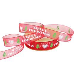 (10Meter/roll) 15mm Christmas tree decoration snowflake ribbon lace DIY hair accessories gift wrapping material
