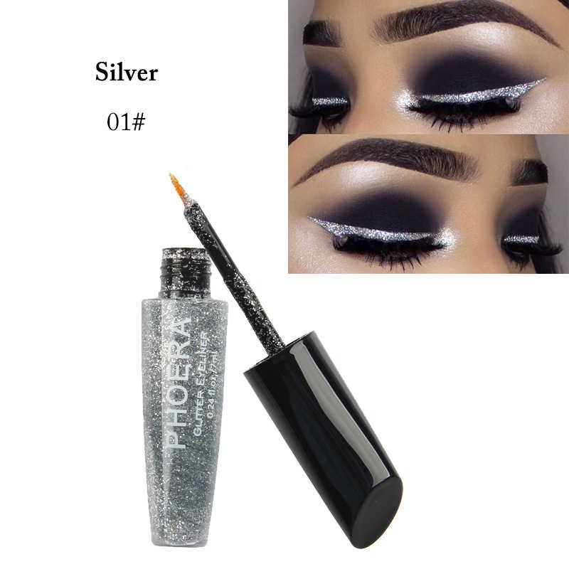 Phoera delineador líquido brilhante, delineador com glitter líquido, pigmento líquido, prata, rosa dourado, de longa duração, secagem rápida, cosméticos