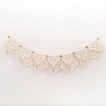 Home Decoration Wall Hanging Art Tassel Door Curtain Macrame Woven Rope Wedding Tapestry Ornament Cotton Linen Living Room