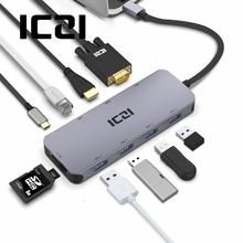 ICZI USB C HUB 10 in 1 Type C tot 4K HDMI VGA USB 3.0 Kaartlezer RJ45 Power converter voor MacBook 2018 Samsung S10 Huawei P30