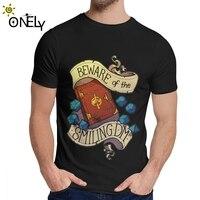 Мужская с круглым вырезом Остерегайтесь смайлика подземелье мастер летняя футболка для человека 100% хлопок Homme футболка плюс размер
