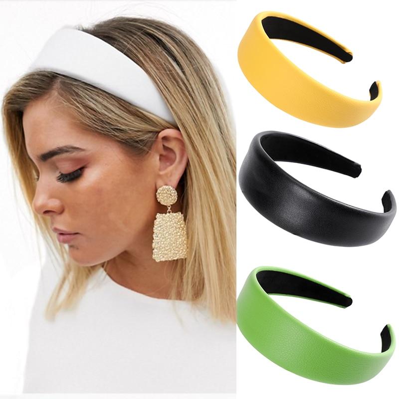 Haimeikang Fashion Satin Headband Wide-brimmed Fluorescent Candy Color Hairpin Hair Accessories Ladies Shiny Bezel Head Hoop
