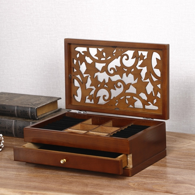 Two Layer Organizer Wood Jewelry Boxes Storage Box Wood Stars European Wooden Jewelry Box Special Offer
