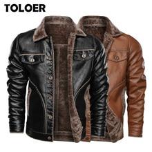 Winter New Mens Leather Jacket Casual Plus Velvet PU Leather Coat Men Fleece Military Motorcycle Retro Jacket Large Size M 8XL
