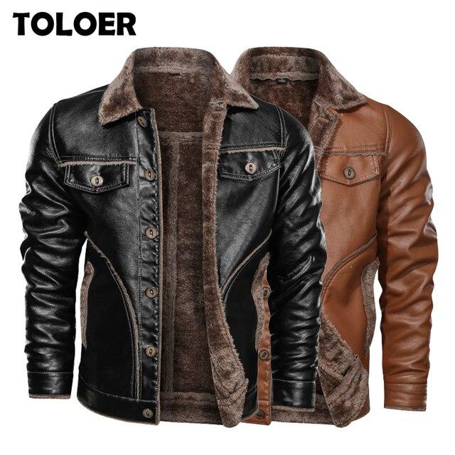 Zima nowa męska kurtka skórzana na co dzień Plus aksamitne PU płaszcz skórzany mężczyźni polar wojskowy motocykl kurtka Retro duży rozmiar M 8XL