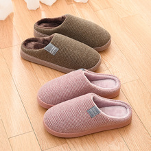 Non-slip Quality stripe Women Home Slippers Winter Warm Indoor floor short Plush House Comfortable Slip on female Shoes