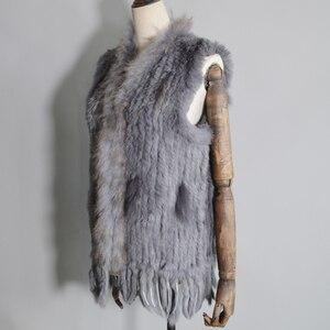 Image 3 - 2020 Women Real Rabbit Fur Vest Handmade Knitted Tassels 100% Real Genuine Rabbit Fur Gilet Real Raccoon Fur Collar Waistcoat