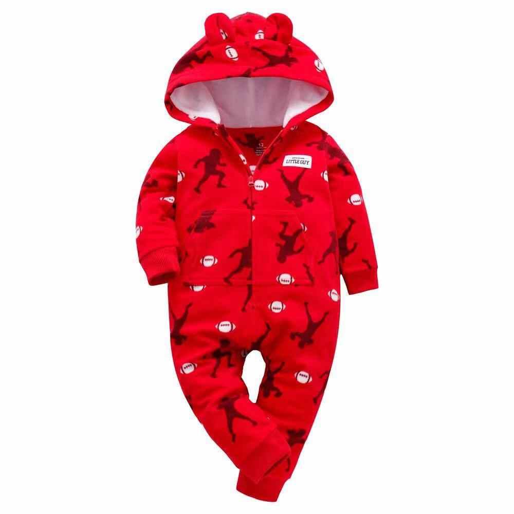 Neugeborenen Baby Strampler Mit Kapuze Warme Fleece Dinosaurier Gedruckt Baby Pyjamas Footed overalls Infant Junge mädchen Kleidung Nachtwäsche 0-24M