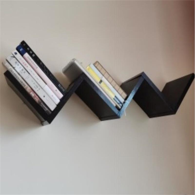 W shape bookrack Bookcase commodity shelf Wall Mount Bookshelf|Bookcases|   - title=