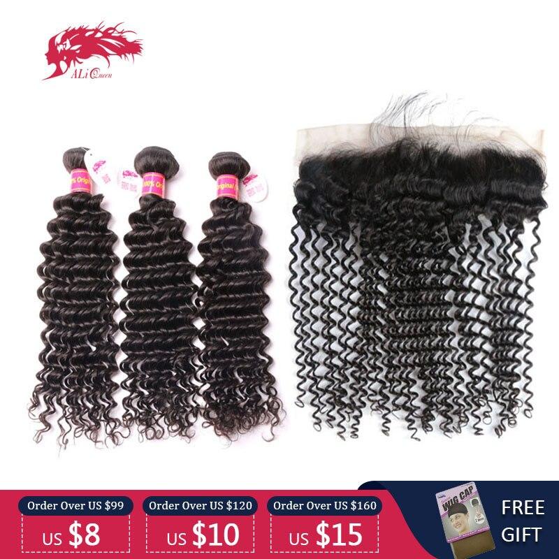 ali rainha cabelo 3 4 pcs onda profunda brasileiro virgem pacotes de cabelo humano com laco