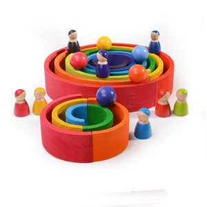 Image 4 - Baby Toys Large size Rainbow Stacker Wooden Toys For Kids Creative Rainbow Building Blocks Montessori Educational Toy Children