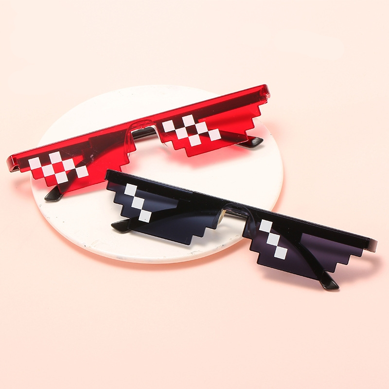Бандит жизни очки-мозаика солнцезащитные очки Для мужчин Для женщин 8 бит кодирования пикселей Мода Прохладный Супер вечерние забавные Вин...