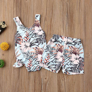Swimsuit Tankini Leaves Newborn Baby-Girls Flowers Matching Infant Backless Sister Summer