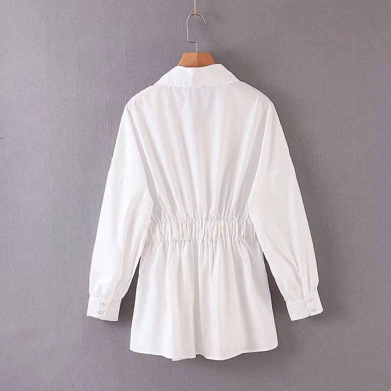 Enking 2020 women chic oversized white za 블라우스 V 넥 백 엘라스틱 긴팔 셔츠 여성 세련된 office wear tops blusas
