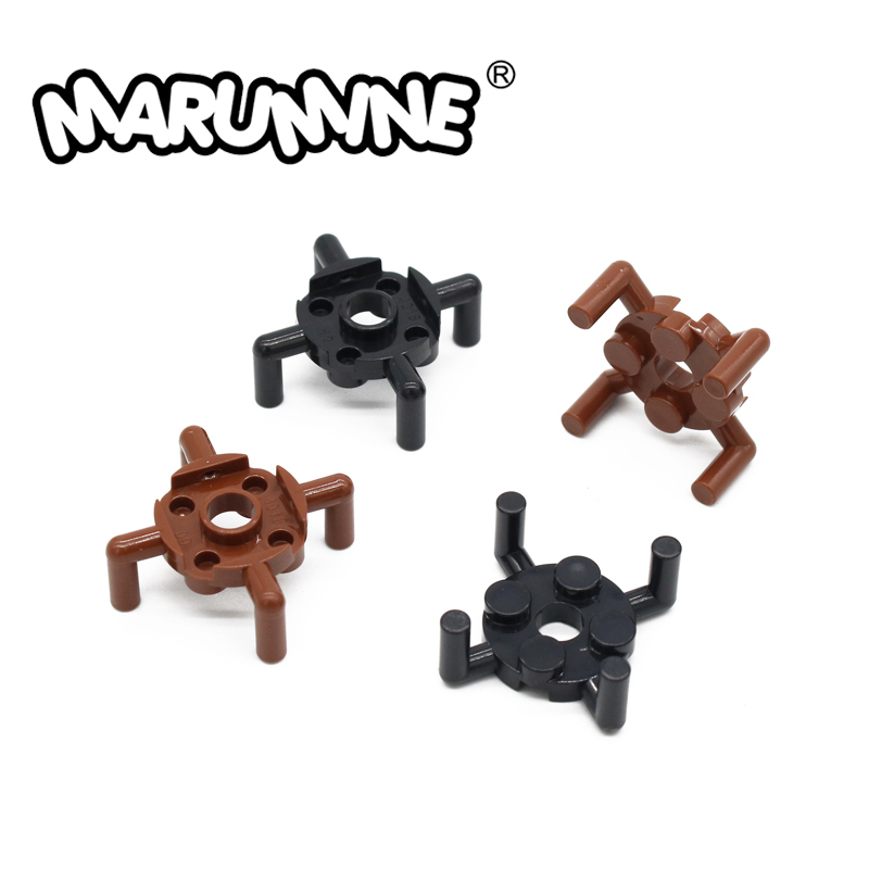 MARUMINE Plate 2x2 with 4 Bars Round 80 PCS Building Blocks Connection Axis MOC Brick 98284 DIY Educational Creative For Kids