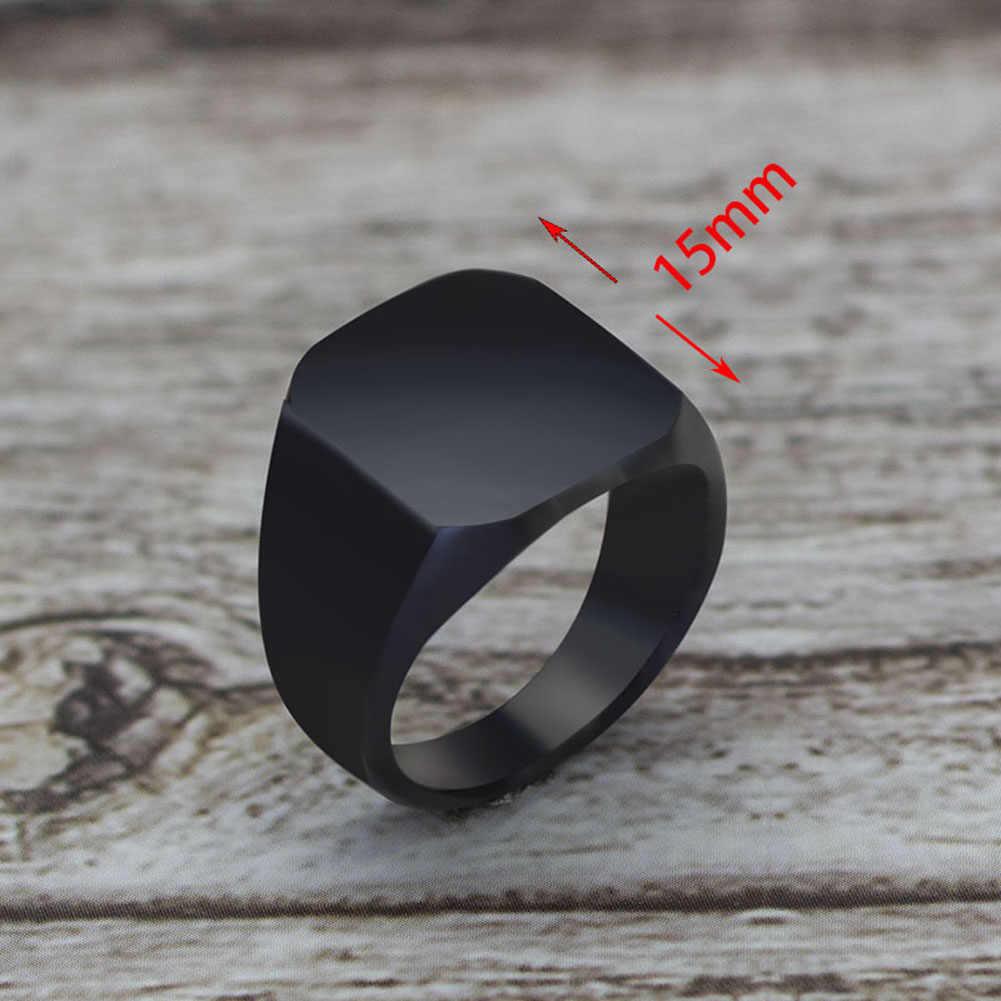جودة عالية 2018 جديد الفولاذ المقاوم للصدأ خواتم رجالية سوداء لمعان جميع مربع الصلبة التيتانيوم الكلاسيكية خاتم الزفاف مجوهرات الخطوبة