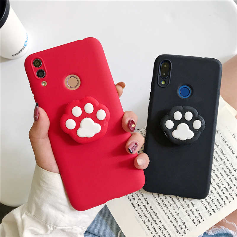 <font><b>3D</b></font> silicone cartoon Cat Claw phone holder cases For <font><b>oneplus</b></font> 7 7T Pro <font><b>6</b></font> 6T Cute Stand Soft Back Cover For One Plus 6T 1+7 case image