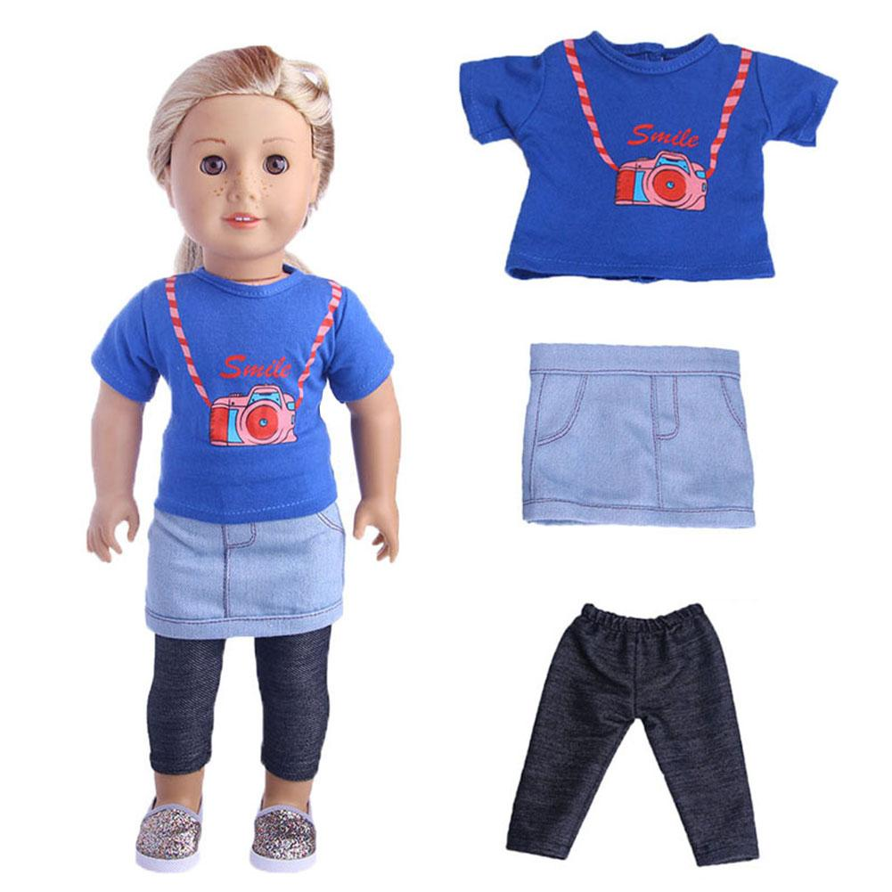 3pcs/set T-shirt Tops+Skirt + Leggings Trousers Three-piece Suit Clothes Set For 18inch Doll Accessories Toys