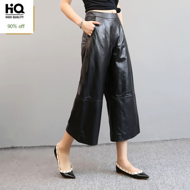 Free Shipping Black Genuine Sheep Leather Pants 100% Lambskin Wide Leg Pants Leather Trousers Pantalon Femme Pantalones Mujer