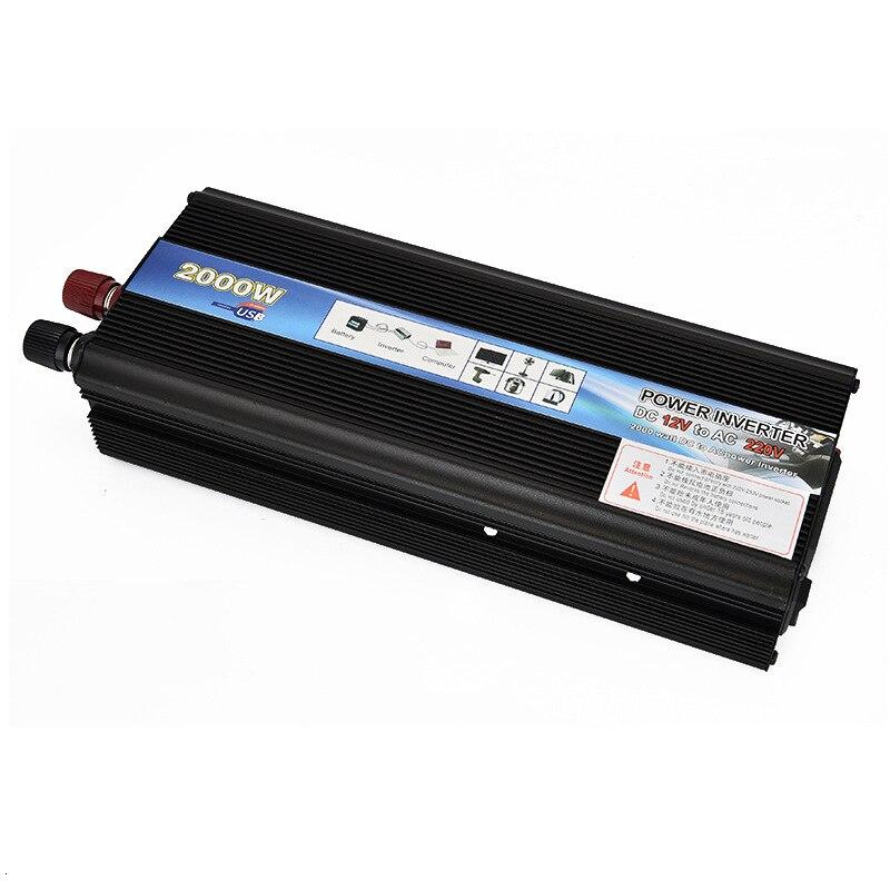 2000W Auto Power Inverter Reine Sinus Welle Spannung Konverter Transformator Zigarette DC12/24 V Zu AC110/220 V Mit USB Port Ladegerät