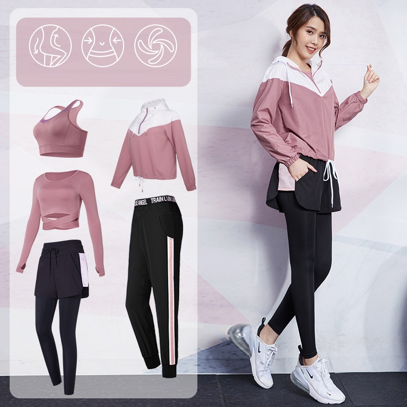Vansydical Sport Suit for Women Yoga Jogging <font><b>Sexy</b></font> Exposed navel <font><b>Shirt</b></font> <font><b>2</b></font> in <font><b>1</b></font> Leggings Crop Top Sets Female Running Suit <font><b>2</b></font>-5 pcs image