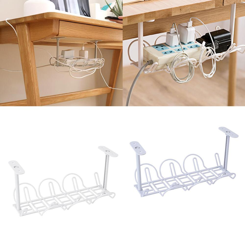 Home Living Room Storage Rack Under Desk Cable Management Tray Wire Cord Power Strip Adapter Organizer Shelf