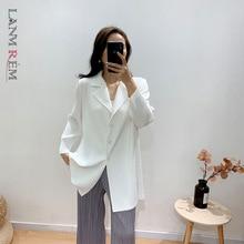 LANMREM Women Black Big Size Pleated Blouse New Lapel Long Sleeve Loose Fit Shirt Fashion Tide Spring Summer 2021 2E1562