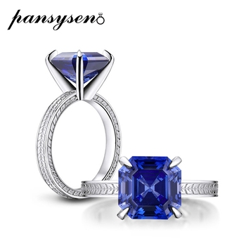 PANSYSEN 100% Solid 925 Sterling Silver Tanzanite Diamond Ring Luxury Pagoda Cut Wedding Engagement Fine Jewelry Rings for Women