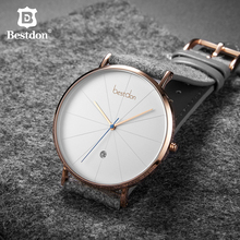 Bestdon Simple Mens Watches Top Brand Luxury Waterproof Quartz Wristwatch Classical Geek Minimalist Male Clock Gift