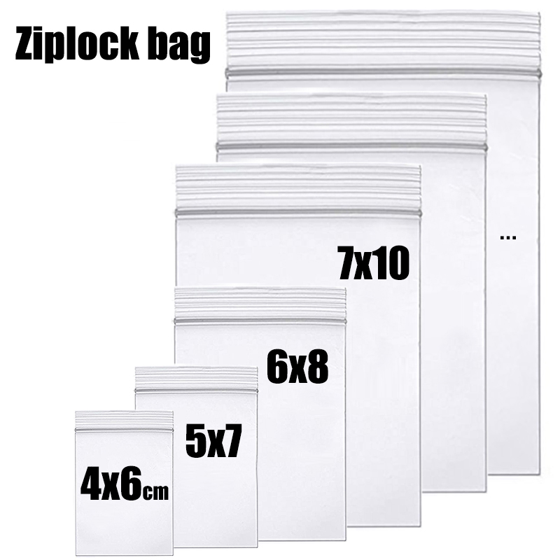 High-end Clear Zip Ziplock Lock bags Thick Reclosable plastic poly Zip Bags Food Package Jewelry Storage Zipper bag(China)