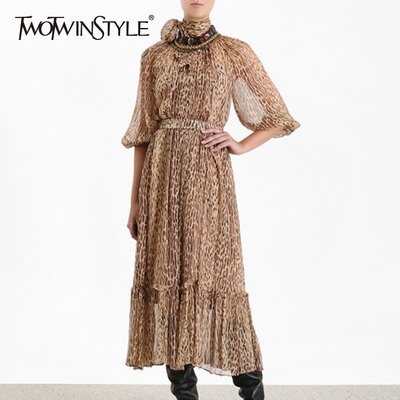 TWOTWINSTYLE Summer Leopard Dress For Women Puff Sleeve Stand Collar High Waist Ruffle Dresses Female 2019 Vintage Fashion New