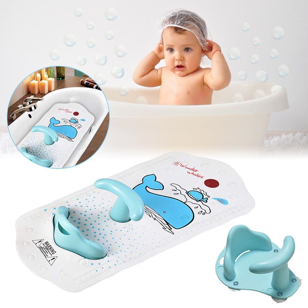 Baby Bath Mat With Baby Shower Seat Bathtub Cushion Back Support Non-slip Safety Comfortable Chair Baby Bath Seat