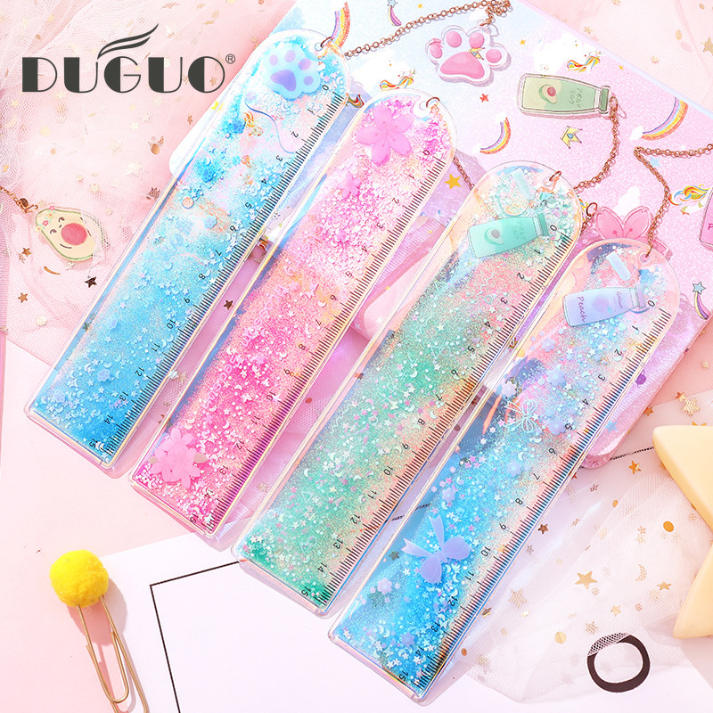 DUGUO Cute Stationery Sandpaper Bookmark Ruler Cute Laser Girl Ruler Creative Multi-function Stationery Scale Kawaii Supplies