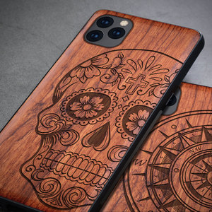 Image 2 - Carved Skull Wood Phone Case For iPhone 7 6 6s 8 plus X XR XS Max iPhone11 iPhone 11 pro Silicon Wooden Case Cover