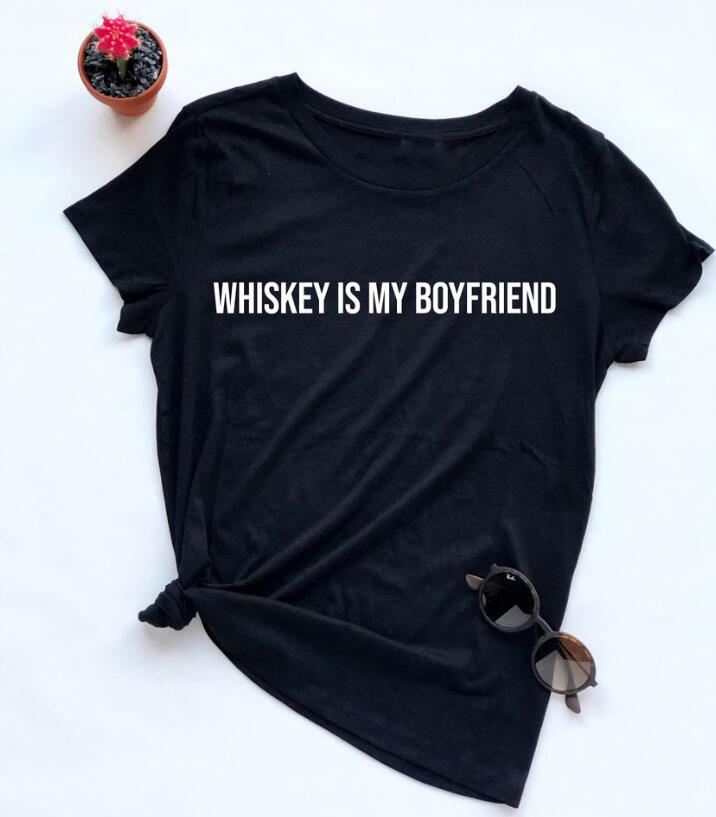 Funny Valentines Day Shirts Single Life Tee momen grunge Tops Whiskey Is My Boyfriend T-shirt Whiskey Lover Shirt image