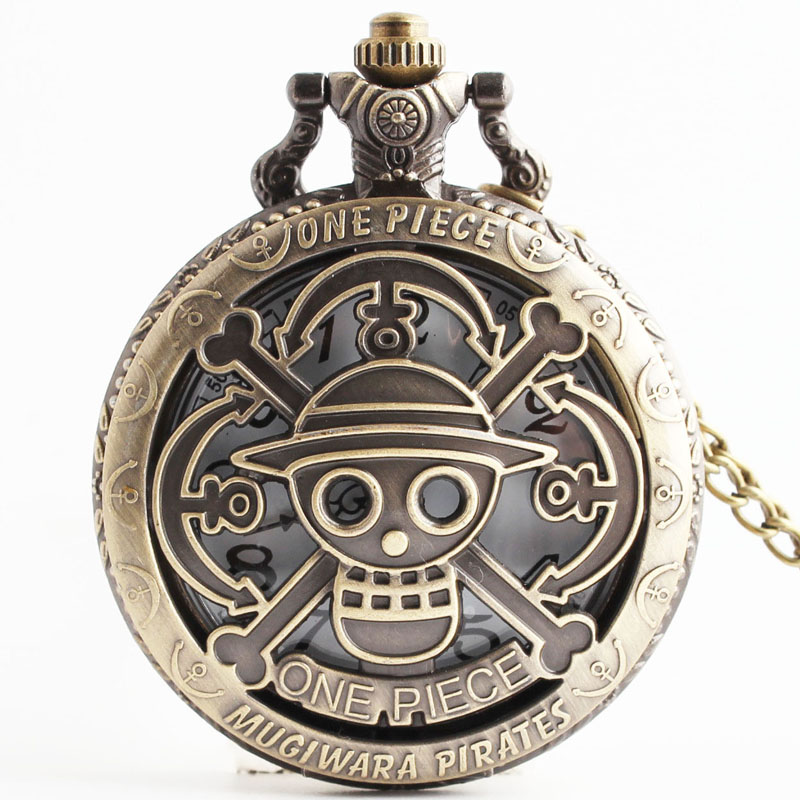 Pocket & Fob Watches anime Cosplay Cartoon One Piece Theme Bronze Hollow Quartz Pocket Watch Men/Women Necklace Chian Pendants