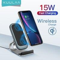 KUULAA-cargador inalámbrico Qi de 15W, estación de carga rápida, soporte para teléfono, para iPhone X, XS, 8, XR, Samsung S9, Xiaomi