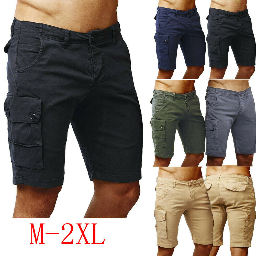 Hot Men Shorts Cargo Cotton Casual Half Stretch Solid Slim Fit Short Stretch Summer Half Short Pockets Short Combat Pants