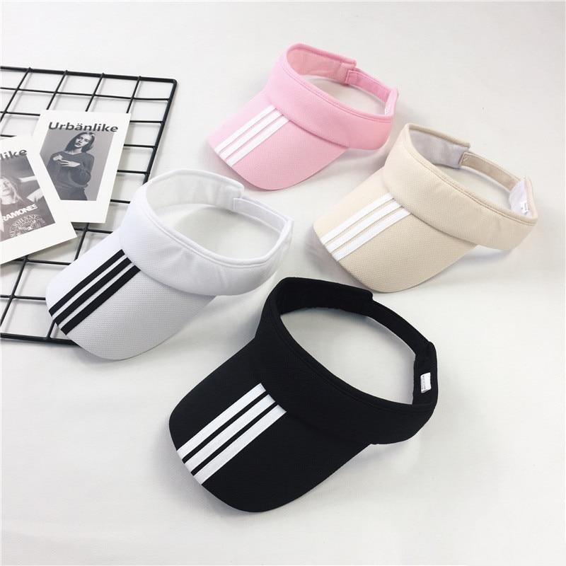 Summer Cotton Sports Visors Striped Fashion Women Men Sun Visor Beanie Hats Adjustable Snapback Caps Unisex New Dropshiping