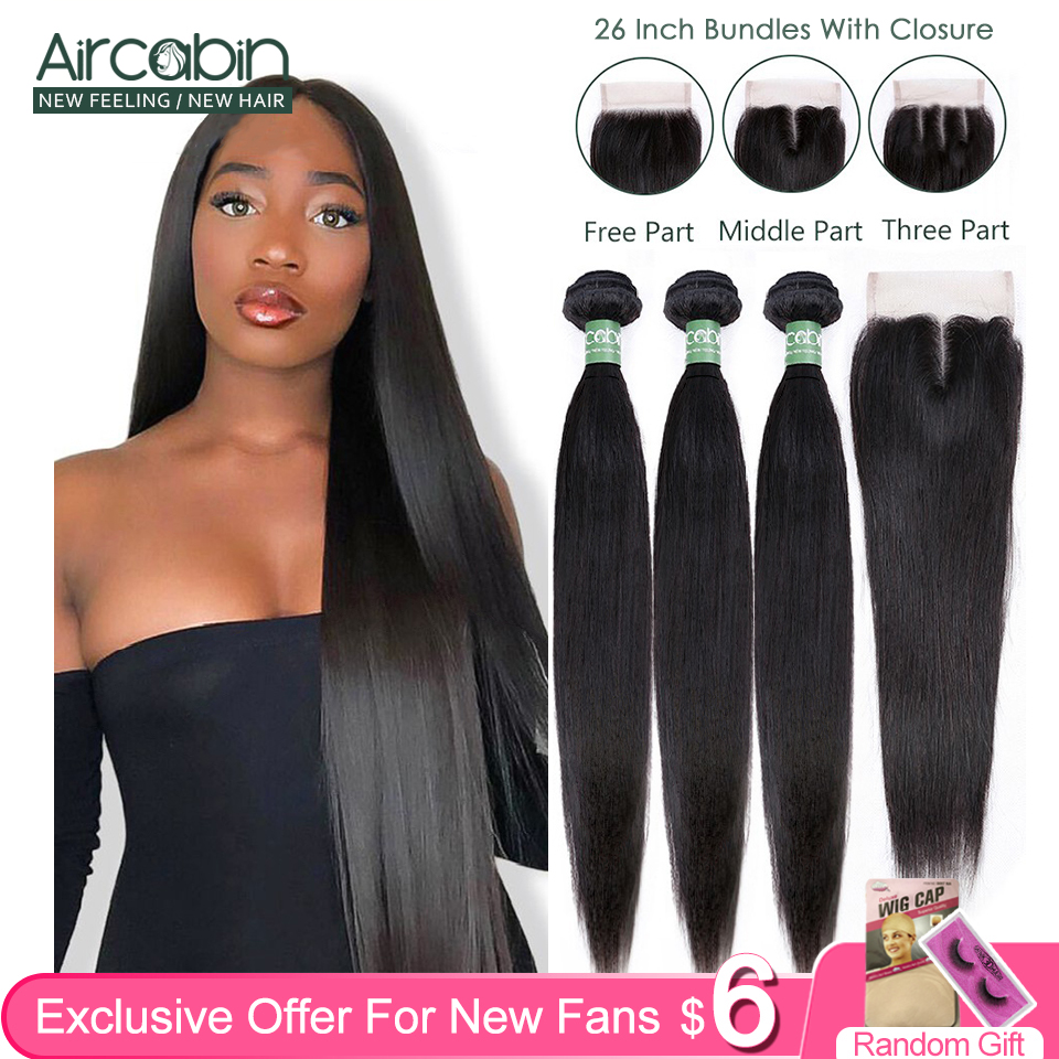 Brazilian Straight Bundles With Closure Aircabin 100% Remy Human Hair Weave Bundles Extensions Swiss 4x4 Lace Frontal Deep Part