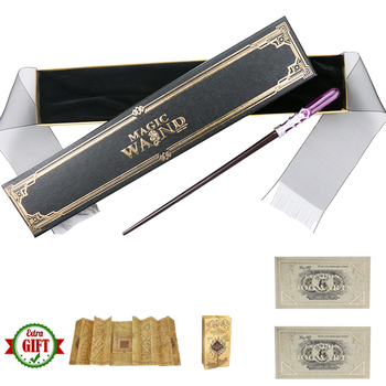free shipping hp magical cosplay non luminous magical wand new in box with led light free train ticket 40 Kinds Metal Core Serafina Magic Sticks Dumbledore Harried Bellatrix Magical Wands Map Ticket As Gifts With Ribbon Box Pack