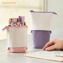 Creativa Lápiz Retráctil caso papelería escuela bolsa de almacenamiento Kawaii color sólido estuche de bolígrafo pluma bonita titular para bolígrafo para niños bolsa