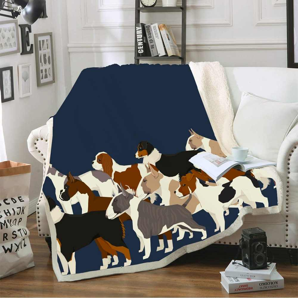 Dogs Animals Throw Home Blanket Cartoon Sherpa Fleece Blanket for Kids Girls Coral Warm Thick Blanket for Sofa Bed Dropshipping