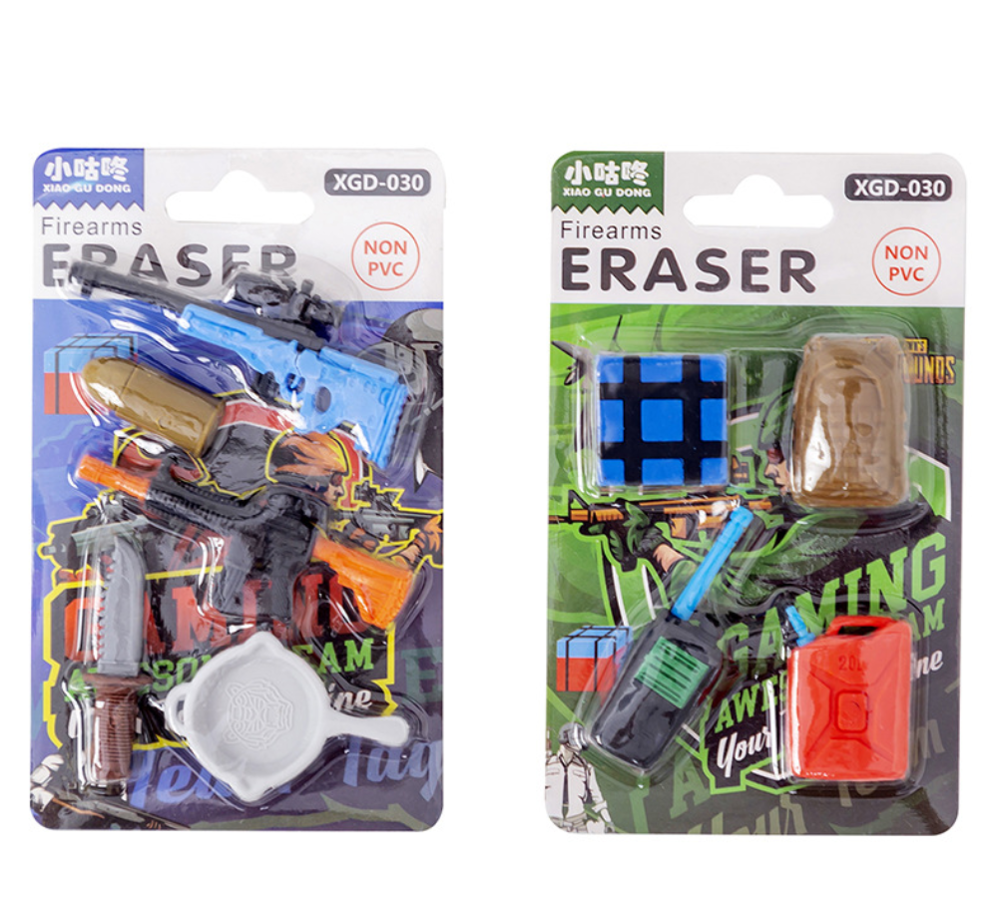 1 Set Cute Cartoon Gun Bullet  Communicator Knife Water Pot Erasers Pencil Eraser Fish Rubber Eraser School Supplies Stationery