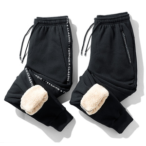 Image 1 - Супер Теплые Зимние флисовые тренировочные штаны, мужские плотные брюки джоггеры, мужские уличные длинные брюки больших размеров 6XL 7XL 8XL