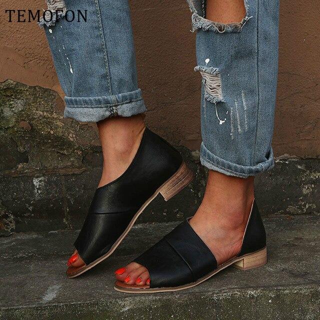 TEMOFON women summer sandals low heel ladies shoes leopard Snake sandals peep toe women casual shoes beach shoes big size HVT829