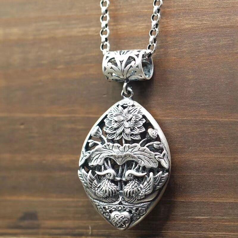 VOJEFEN 925 bijoux de mariage en argent Sterling femme Vintage longue bohème chaîne en argent motif de canard déclaration colliers pendentif