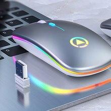 Lampes LED colorées Ultra-mince souris Rechargeable Mini sans fil muet USB optique ergonomique souris de jeu ordinateur portable souris