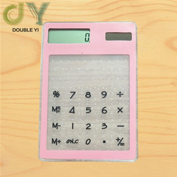 Solar ultra-thin pink touch screen calculator student gift calculator portable calculator Free shipping centechia useful lcd 8 digit touch screen ultra slim transparent solar calculatorstationery clear scientific calculator office