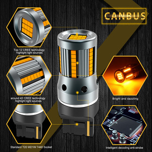 Image 2 - 2x 3200Lm T20 7440 Canbus Error Free No Hyper Flash Super Bright Amber Yellow Wy21W 7440NA LED Bulbs for Turn Signal Light only